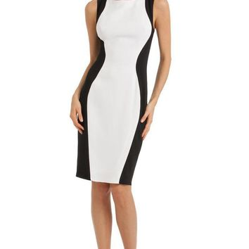 JS Collections - 864229 Two Tone Stretch Crepe Sheath Dress