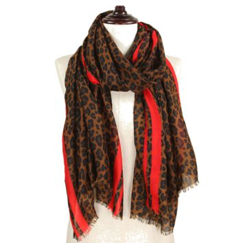 Leopard Rectangle Scarf with a Pop of Orange