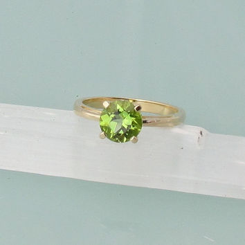 Peridot 14k Yellow Gold Solitaire Scroll Ring August Birthstone Gemstone Jewelry