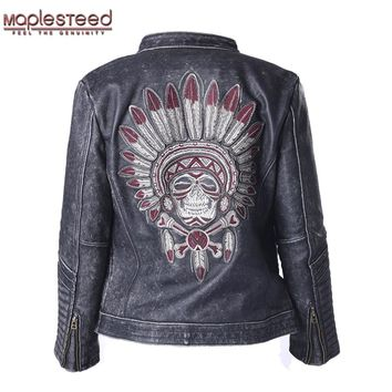 Factory Vintage Skull Leather Motorcycle Jacket Men 100% Cowhide Genuine Leather Coat Men's Motor Biker Leather Jackets ZH084