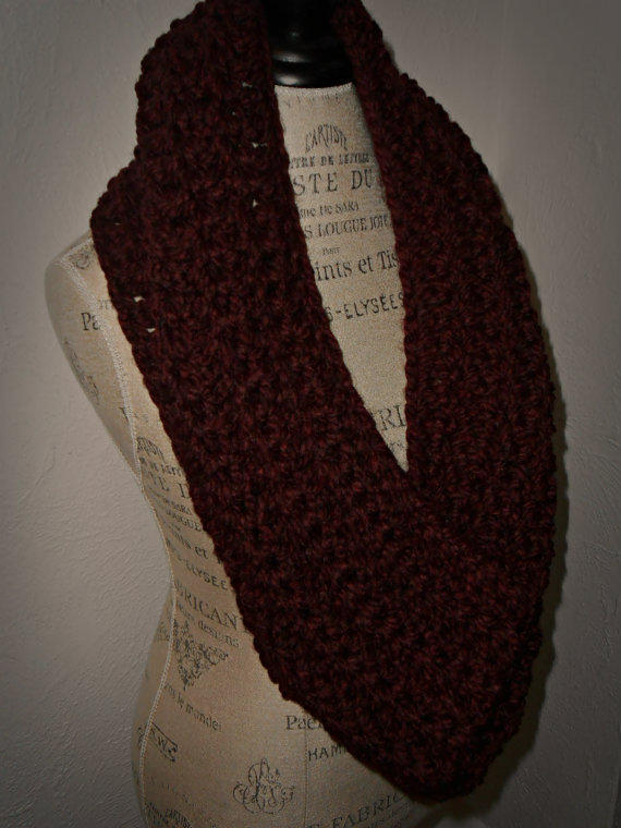 Infinity Scarf Cowl Hood Burgandy Crochet Oversized Scarf, Hooded Scarf, Chunky Cowl, Wool Wine Pinot