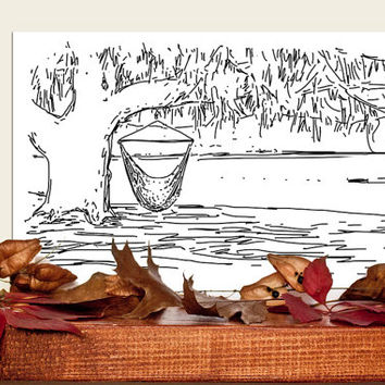 Custom Landscape / House Drawing Portrait from your photo Wedding gift Custom Digital format Line drawing Hand drawn Brown Autumn Fall Rust