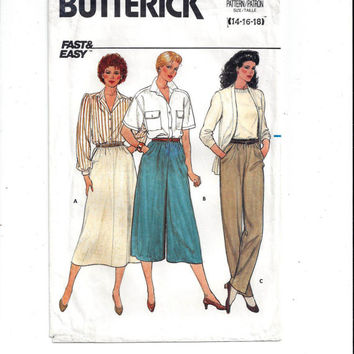 Butterick 3027 Pattern for Misses' Skirt, Culottes, Pants, Sz 14, 16, 18, From 1984, Vintage Pattern, Home Sew Pattern, Fast Easy, Plus Size