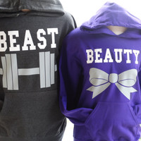 Free//Fast Shipping for US Beauty with Bow and  Beast with Dumbbell Couples Hoodies:Charcoal and Hot Purple(white decal)