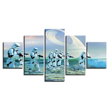 5 Pieces Movie Star Wars StormTrooper Wall Art Panel Picture Print Poster