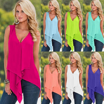 Summer Blusas 2016 Sexy Women Blouses Sleeveless V-Neck Chiffon Shirts Casual Irregular Hem Solid Long Tops