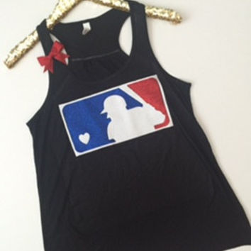 MLB - Glitter Tank - Ruffles with Love - Racerback Tank - Womens Fitness - Workout Clothing - Workout Shirts with Sayings