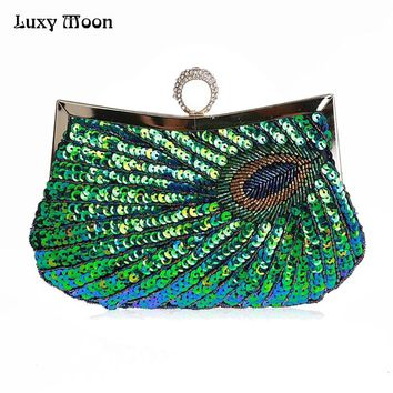 2016 Luxury Clutch Knuckle Rings evening bag ,Green peacock Day Clutch paillette Clutches bridal party bags women bag handbag