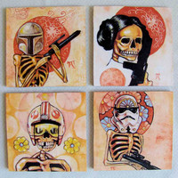 Star Wars meets Day of the Dead - Handmade Coaster Set