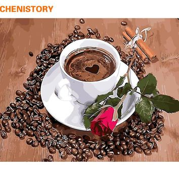 CHENISTORY Frameless Rose Coffee DIY Painting By Numbers Home Wall Art Picture Hand Painted Oil Painting For Home Decor 40x50cm