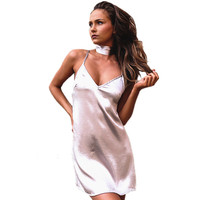 GD333 Women Sexy Deep V Neck Back Criss Cross Choker Neck Silk Satin Slip Dress A-Line Shinning Party Dresses Vestidos