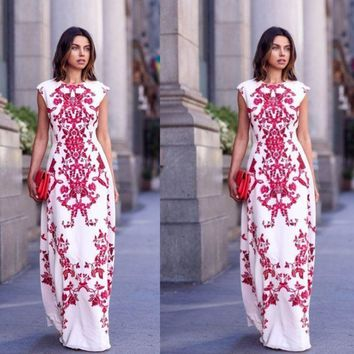 CREYOND White and Red Paisley Print Cap Sleeve Maxi Dress