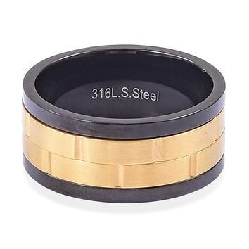 ION Plated YG, Black Stainless Steel Spinner Ring