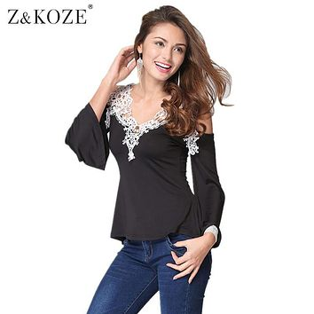 Z&KOZE Newest Fall Women Blouses Lace Sexy Strapless Hollow Out Blusas V-Neck Long Sleeve Tops Elegant Shirt Plus Size 5XL