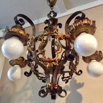 Antique Art Deco Chandelier with Crystals and Color Accents Original Early 1900s Ampinco