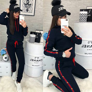 GG GUCCI Womens Casual Round Collar Top Pants Set Two-Piece