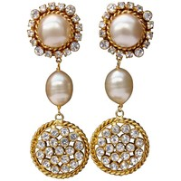 1990s Chanel Stunning drop clip-on earrings with faux pearl and rhinestones