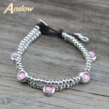 Anslow Fashion Jewelry Brand Sweet Candy Jelly Color Handmade DIY Beads Leather Bracelets Girl Party Christmas Gift LOW0729LB