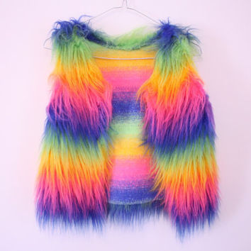 AMAZING 90s Raver / Club Kid Faux Fur Rainbow Vest