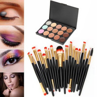 【Buy 1 Get 1 FREE 】Professional 20 Pcs Makeup Brush Set (15 Colors Concealer + 20 BRUSH) Womens Gift