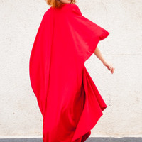 Red Maxi Dress / Loose Red Kaftan / Oversize Extravagant Dress / Asymmetric Plus Size Dress TDK26