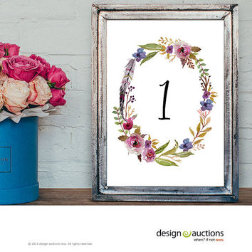 wedding table number 1-10 instant download watercolor floral wreath wedding party signage printable business signs floral printable signage