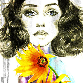 Fashion portrait illustration, Fashion wall art, Watercolor art print , Home/office decor, Titled- Sunflower girl