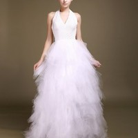 Buy Gorgeous White Halter Tulle Princess Wedding Dress under 300-SinoAnt.com