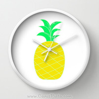 Pineapple Wall Clock in Natural Wood, Black, or White Frames Lime Neon Fun Yellow Bright Pop Art Fun Fruit Gift for Him Her Decorative Home