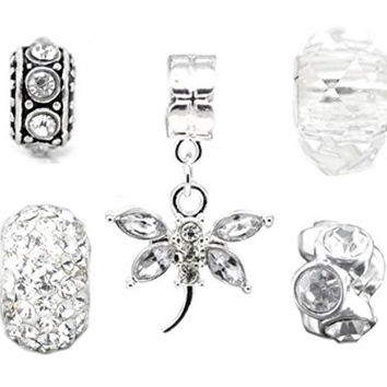 Silver Clear Charms Bead Set of 5 for Pandora Troll Chamilia Style Charm Bracelets Truly Charming