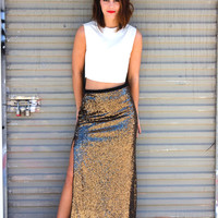 Light It Up Sequined Maxi Skirt - Gold