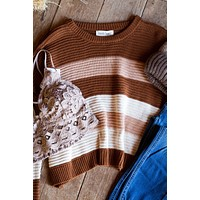 Genoa Stripe Knit Sweater, Camel/Ivory