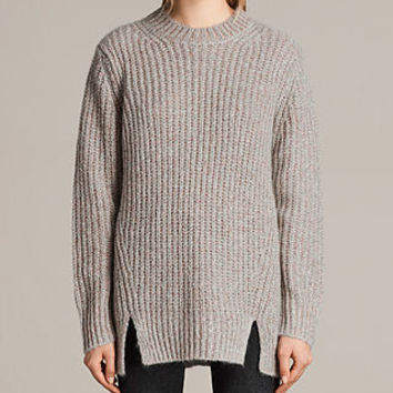 ALLSAINTS US: Womens Klash Crew Sweater (Grey Marl)