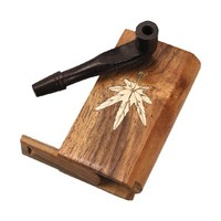 Basic Wood Dugout with Gold Leaf Inlay - Slider Lid - Carved Wood One-Hitter Pipe