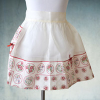 1950s Half Apron White and Red Chiffon Like New Hostess Apron