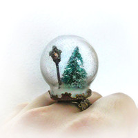 Narnia inspired snow globe ring winter scene with a by UraniaArt