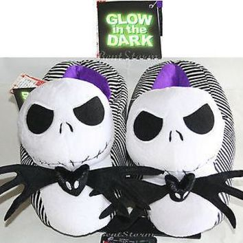 Licensed cool NEW Glow in the Dark JACK Nightmare Before Christmas Adult Plush Slippers Shoes