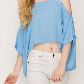 Flowy cold shoulder crop top