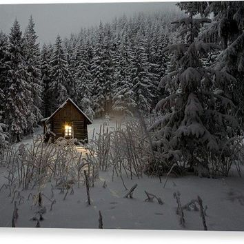 Cabin In Winter - Acrylic Print