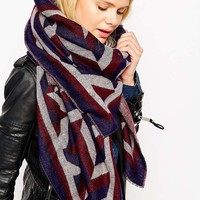 ASOS Woven Oversized Scarf In Multi Blocked Chevron