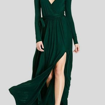 Dark Green Irregular Sashes Draped Deep V-neck Front Slit Elegant Party Maxi Dress