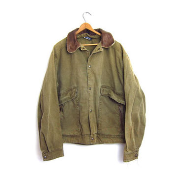 Green Canvas Jacket Mens Hunting Jacket Oversized Work Coat Jean Jacket Vintage 90s Rugged Denim Jacket with Leather Collar Mens Size Large