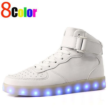 8 Colours USB charging led luminous shoes men women Leather Waterproof shoes luminous glowing sneakers light up sneakers Men shoes for adults glow in the dark shoe size