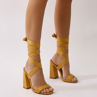 Honesty Lace Up Flared Block Heels in Mustard Faux Suede