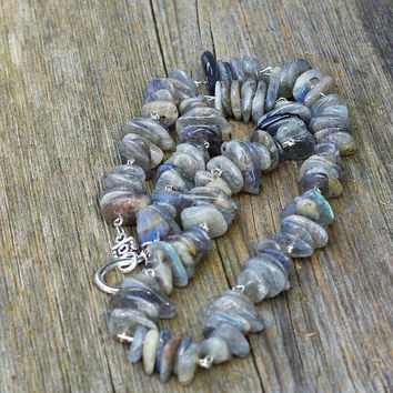 Men's Labradorite Necklace ~  Unisex Jewelry ~ Canadian Gemstones ~ Iridescent Stones ~ Blue Grey Green Yellow ~ Aurora Borealis