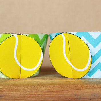 Printable 3D Tennis Ball Sports Party Cupcake Wrapper Set in aqua blue and lime green chevron INSTANT DOWNLOAD