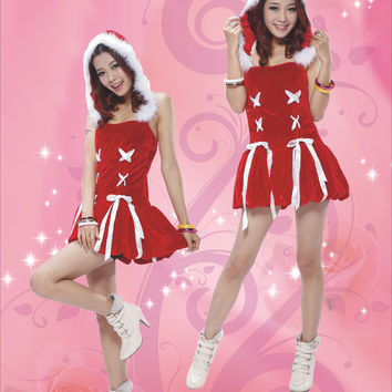 Red Drop Waisted Mini Dress Hooded Costume