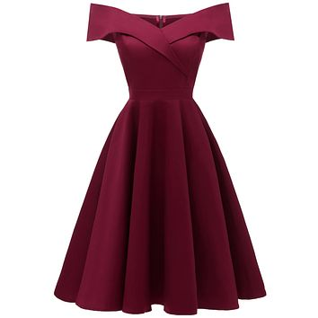Off the Shoulder Short Sleeves High Waist Solid Color Short Dress