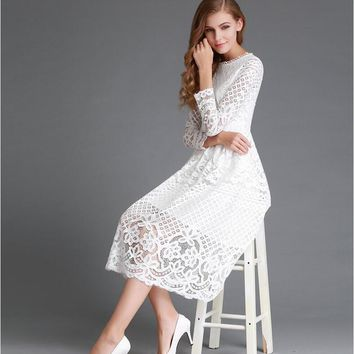 Long sleeve ready dresses girls clothing lace women dinner midi evening dress