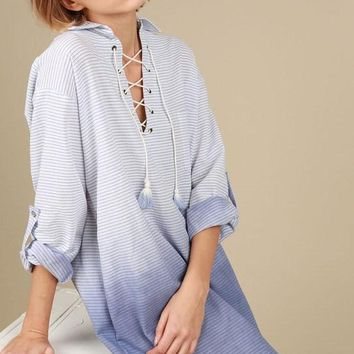 High low stripe ombre shirt with cuff sleeves